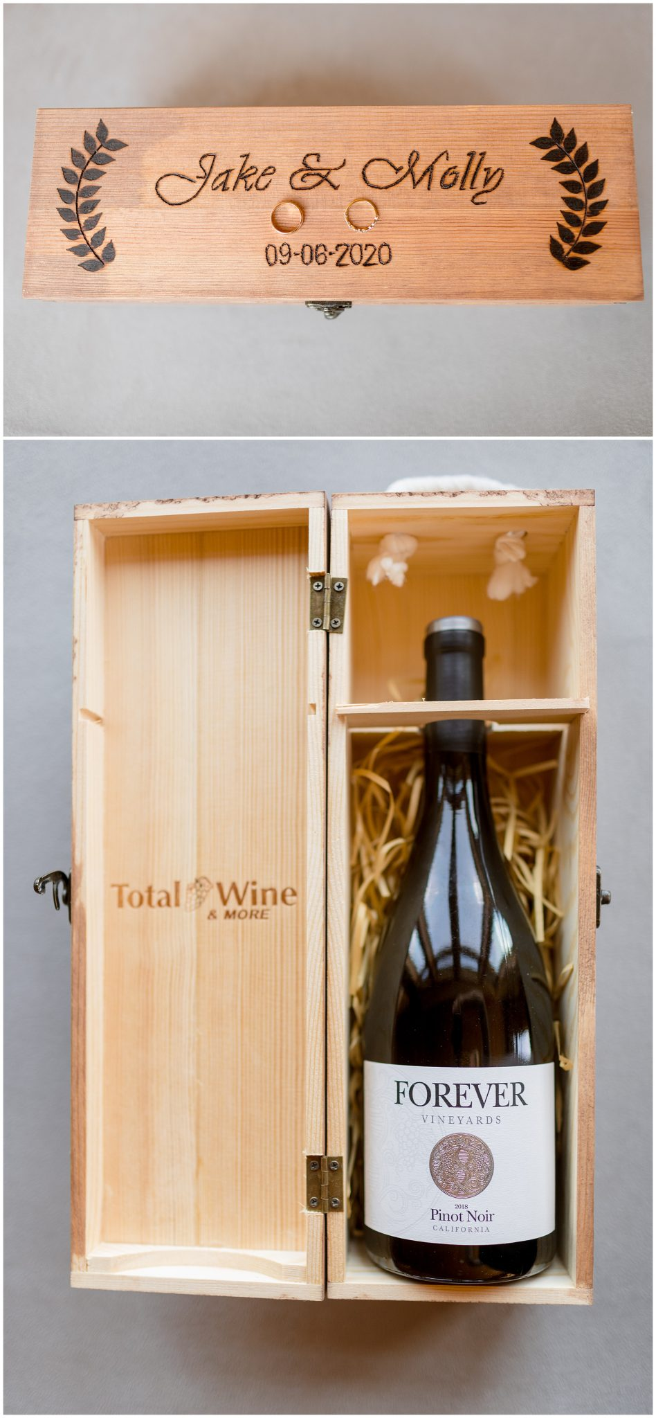 Love this idea of sealing a box with wine and letters to open on your five year wedding anniversary