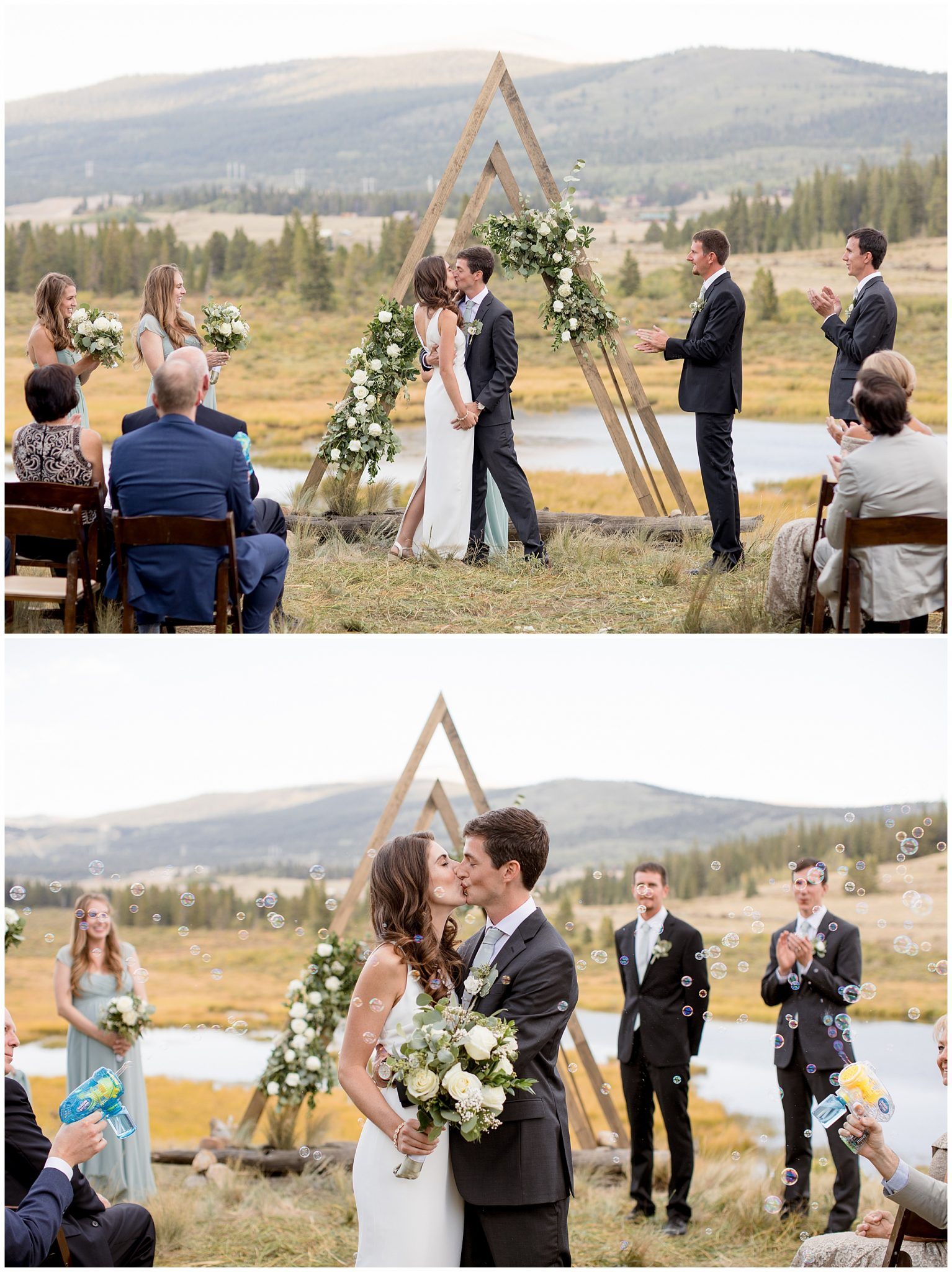 First Kiss at their Breckenridge Colorado Wedding Ceremony