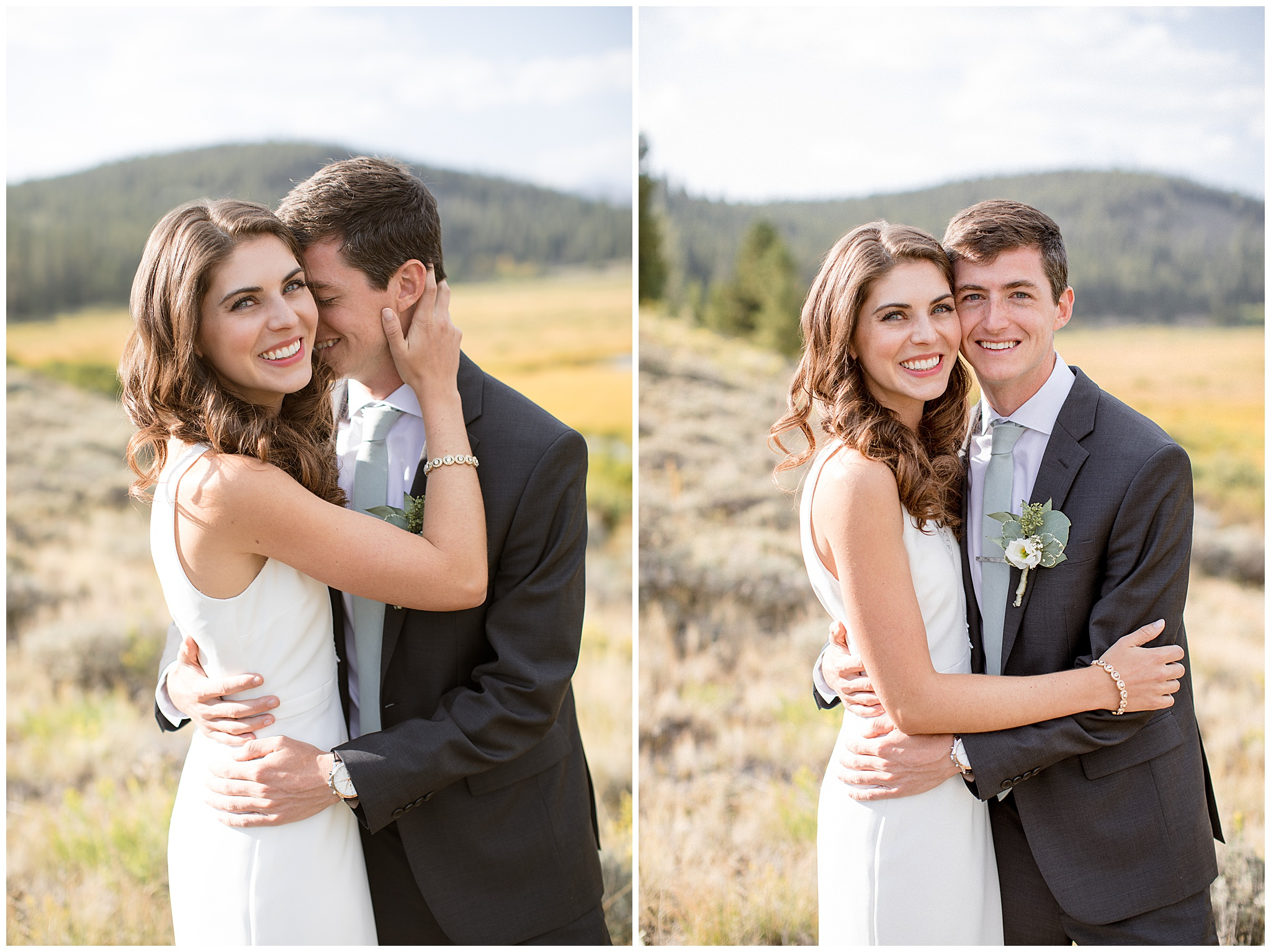 Bride and Groom Portraits directly after their first look in Breckenridge Colorado