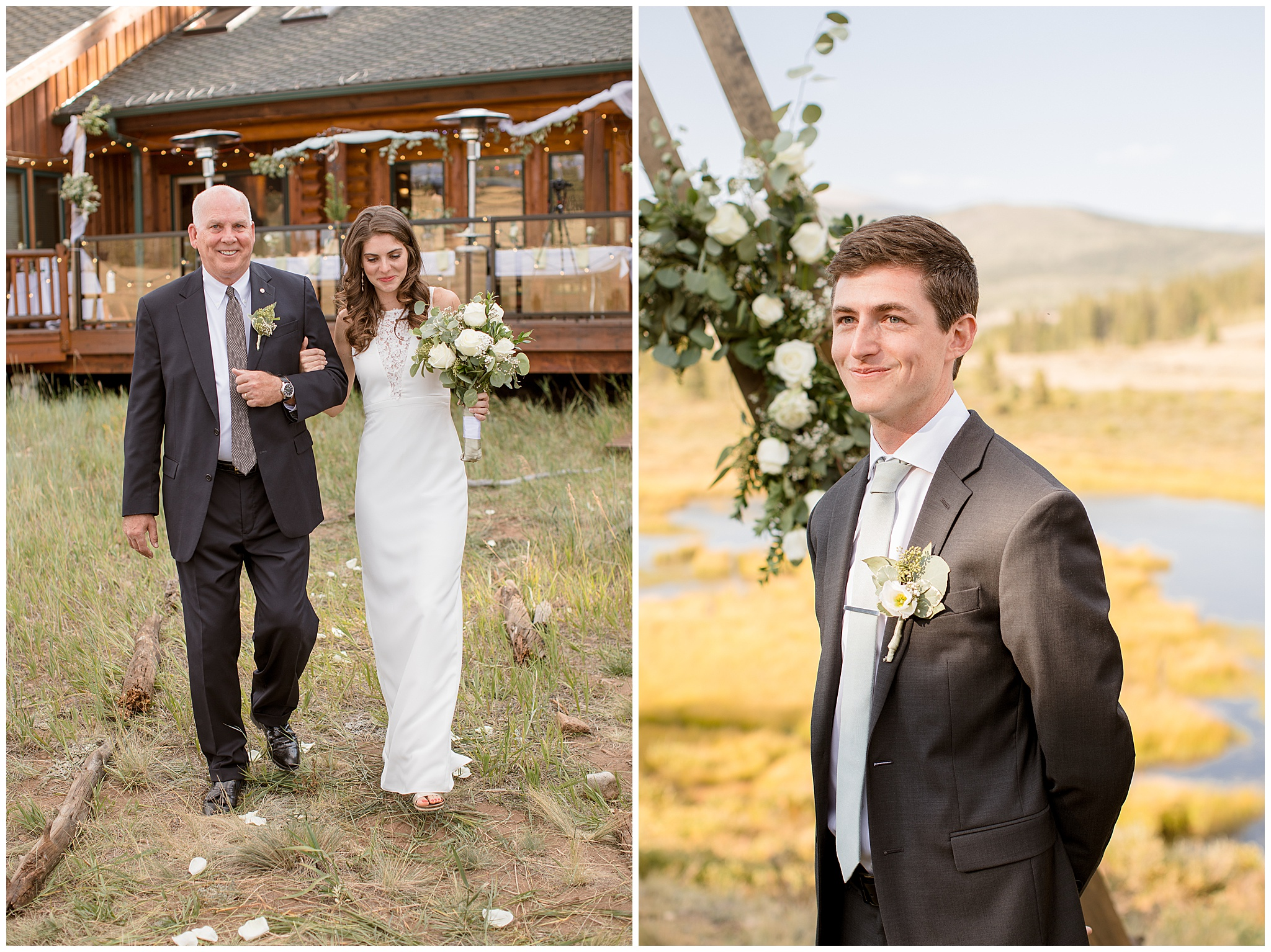 Father walking daughter down the aisle to her groom at their small micro colorado wedding