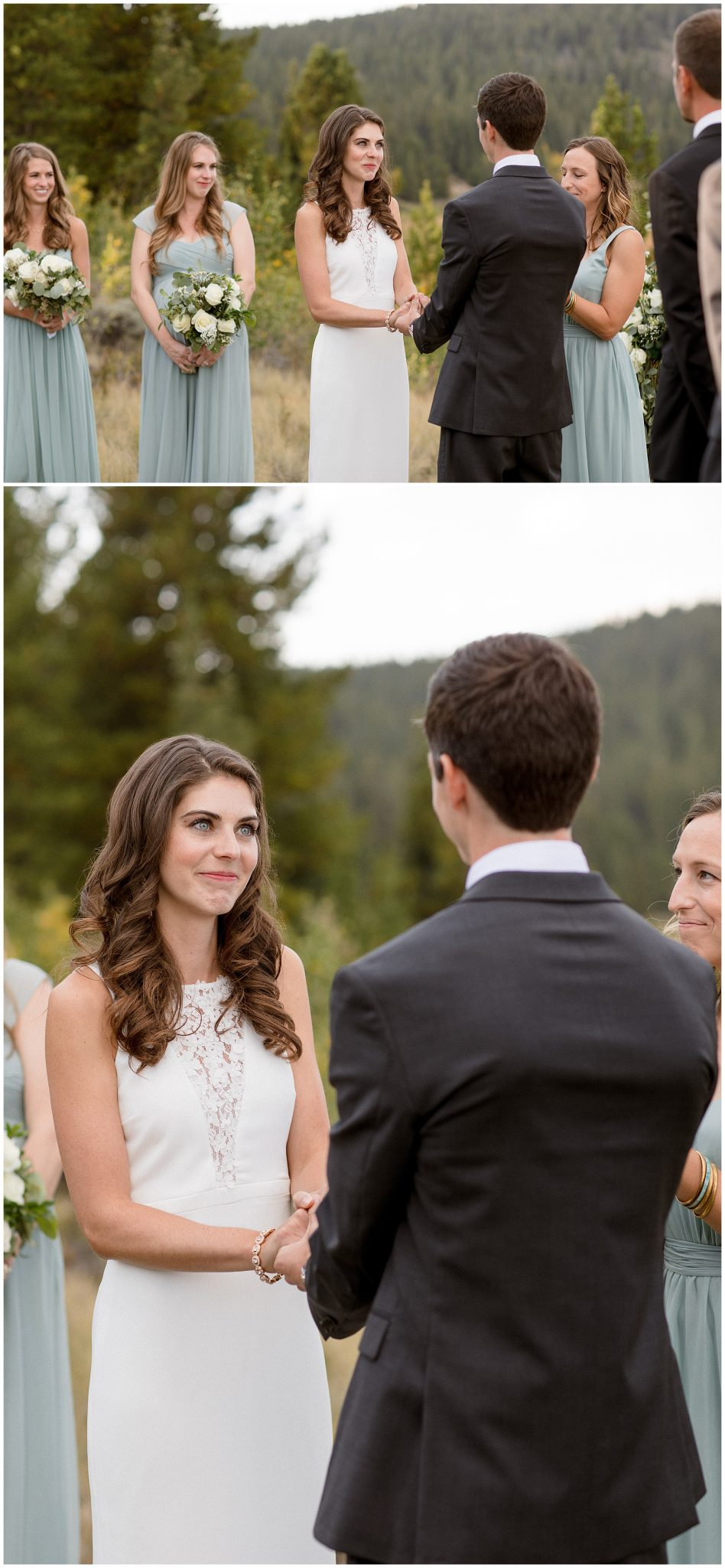 Vow exchange at their small intimate micro wedding in Breckenridge Colorado
