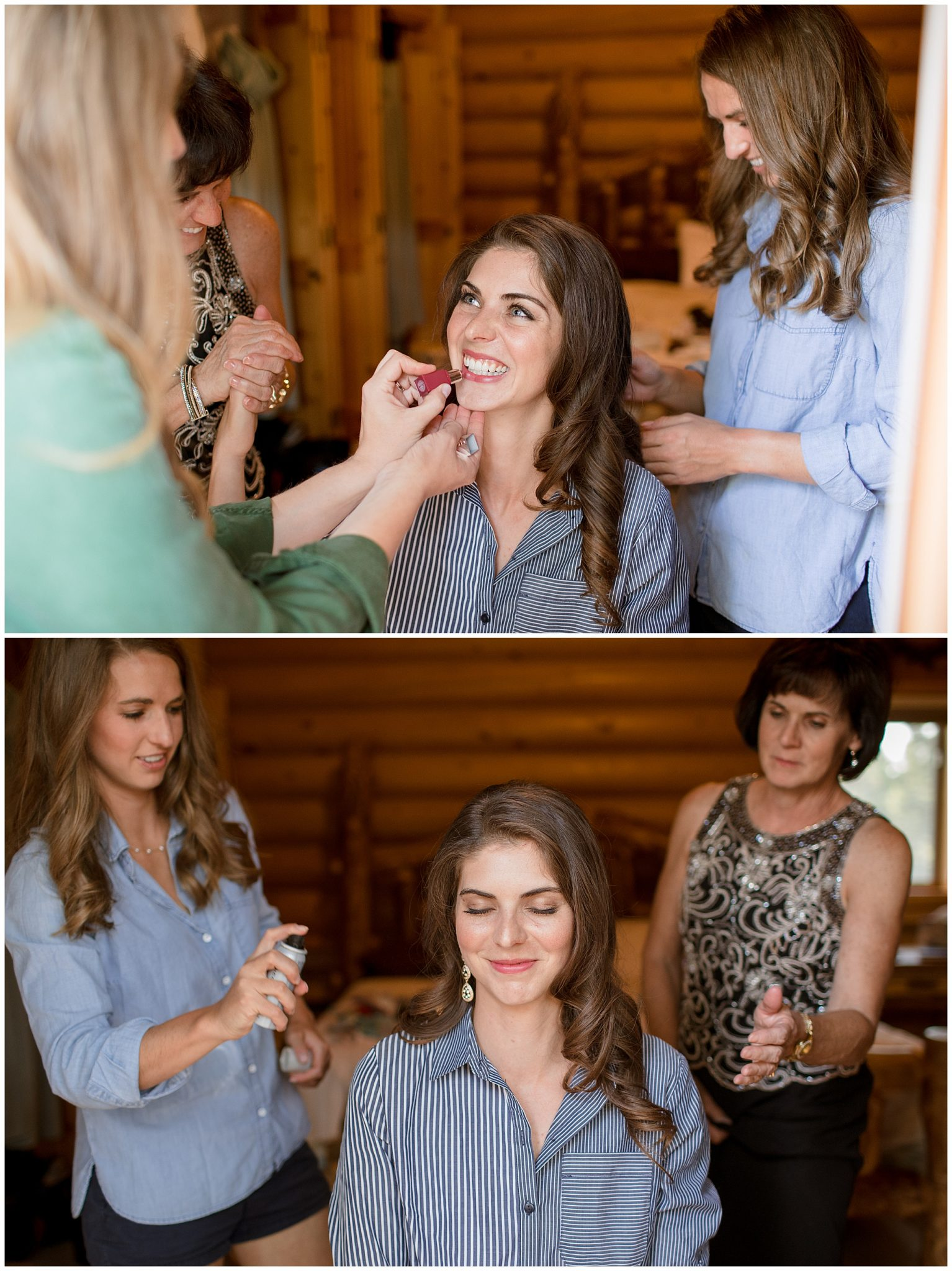 Bride Getting ready for her small intimate wedding in Breckenridge, Colorado