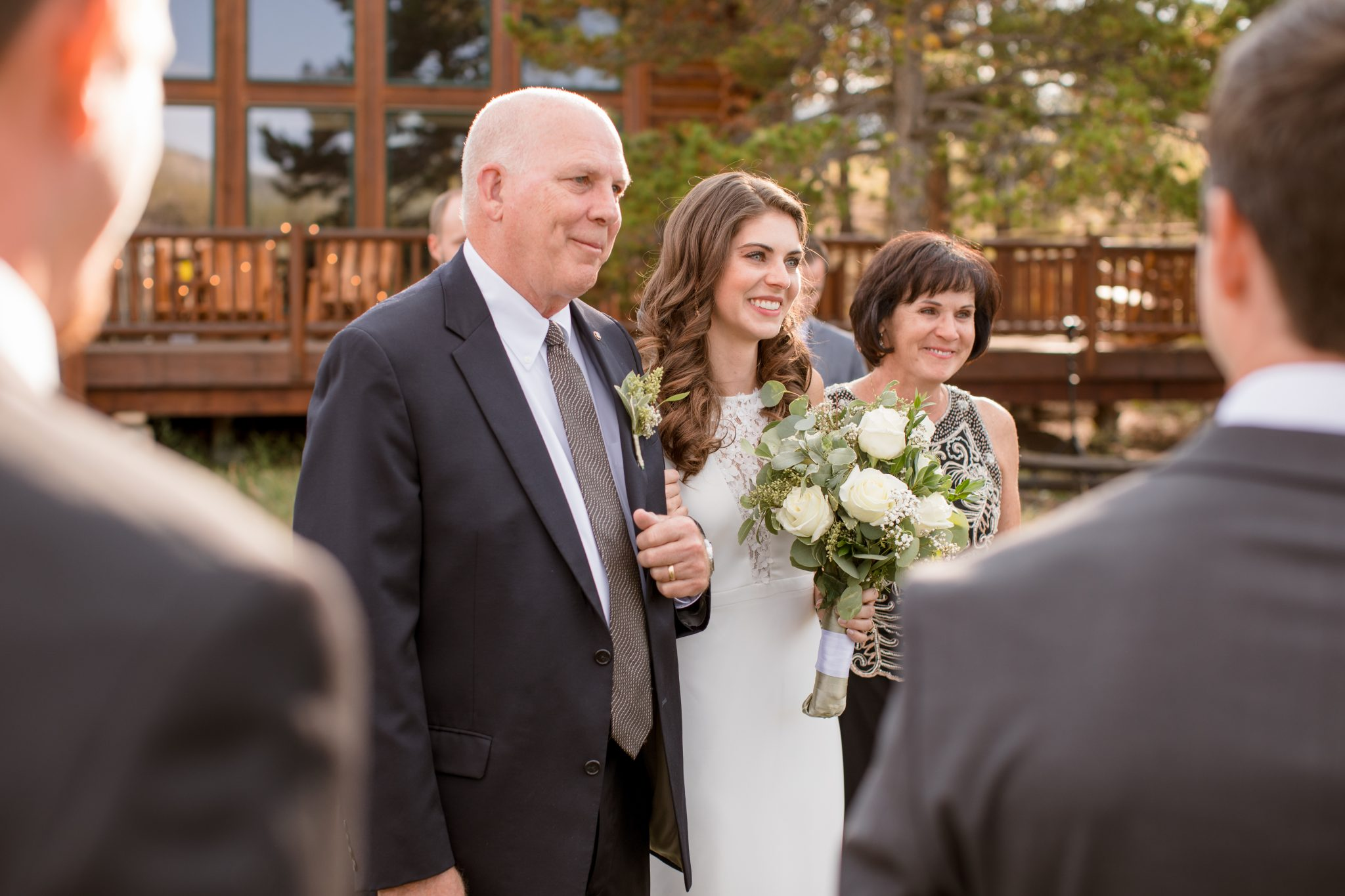 Father giving daughter away to groom at a Breckenridge Colorado private residence Airbnb VRBO