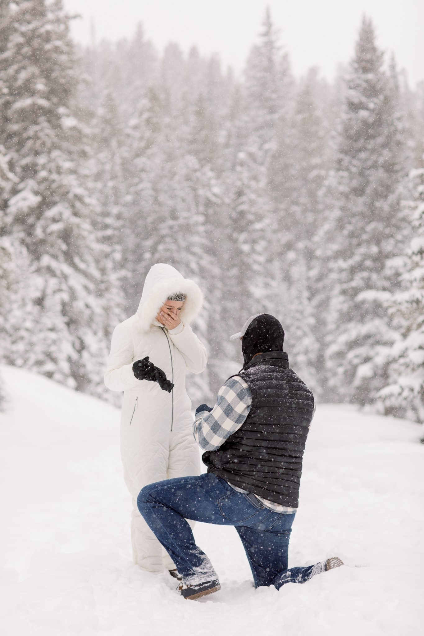 Snowy tree proposal in Breckenridge Colorado