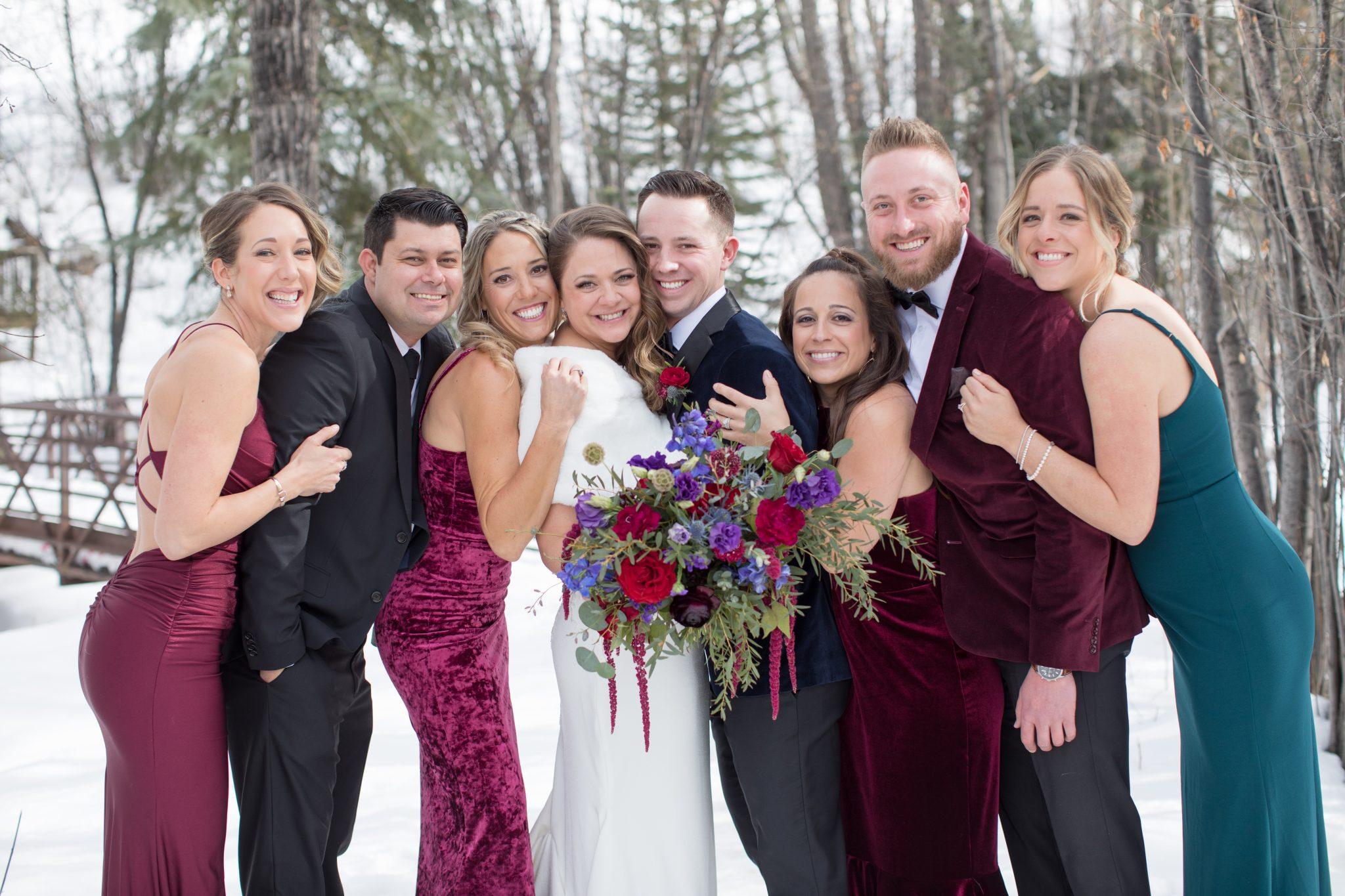beaver creek winter wedding photographer bridal party