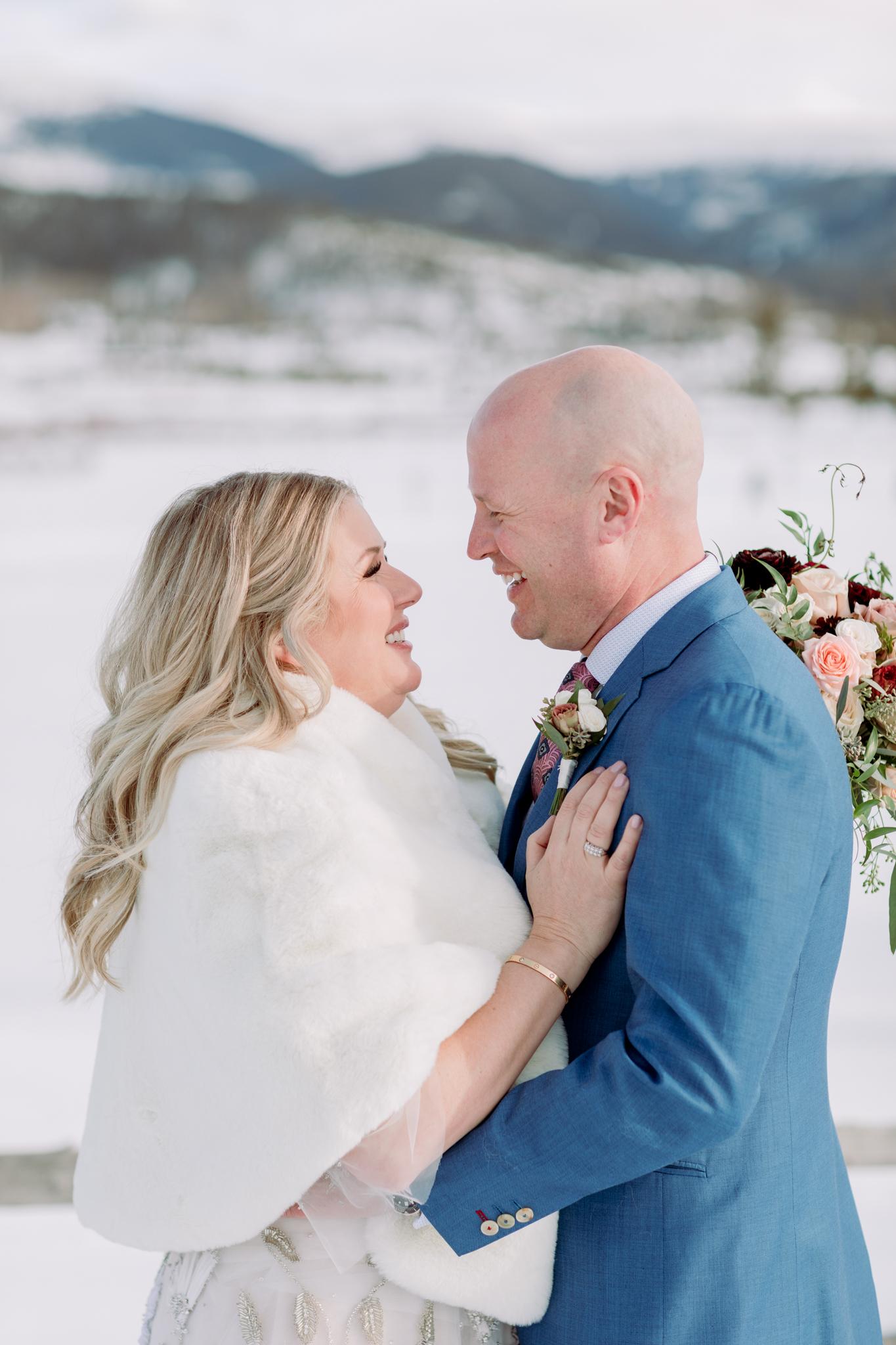 Devils-Thumb-Ranch-Tabernash-Colorado-Winter-Outdoor-Wedding-Bride-and-Groom