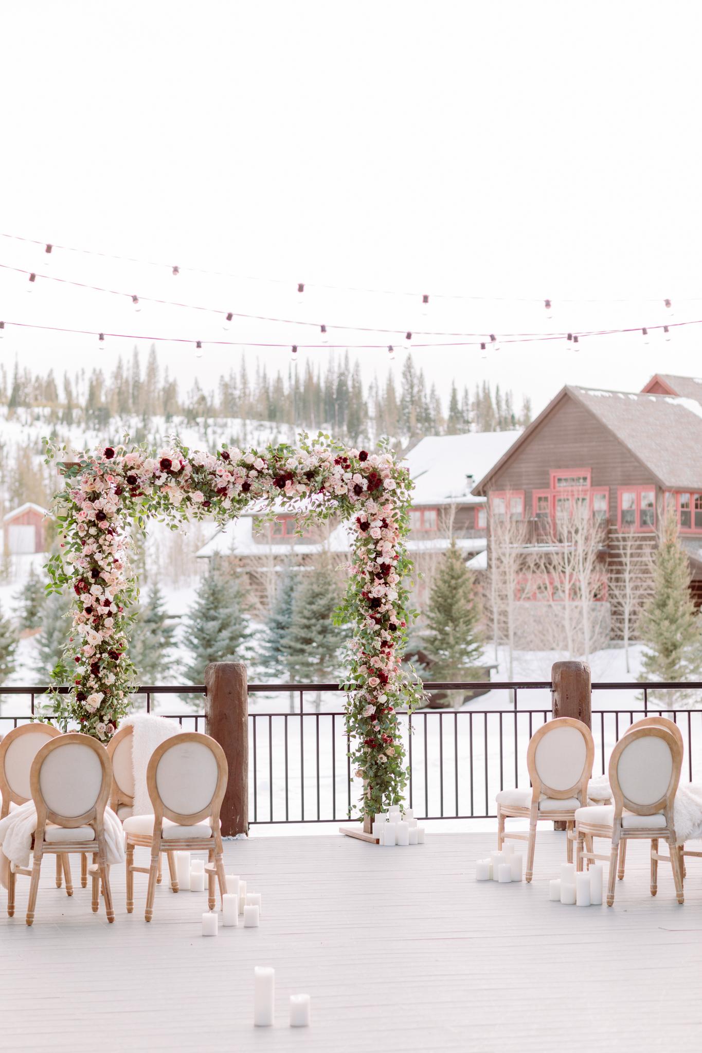 Devils-Thumb-Ranch-Tabernash-Colorado-Winter-Outdoor-Wedding-Ceremony-LaRue-Floral