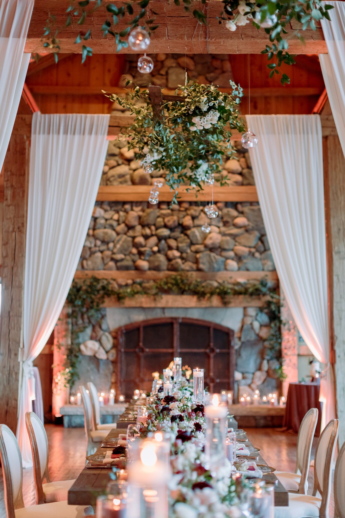 Devils-Thumb-Ranch-Tabernash-Colorado-Winter-Broad-Axe-Barn-Reception-Table-Runners-Farm-Tables