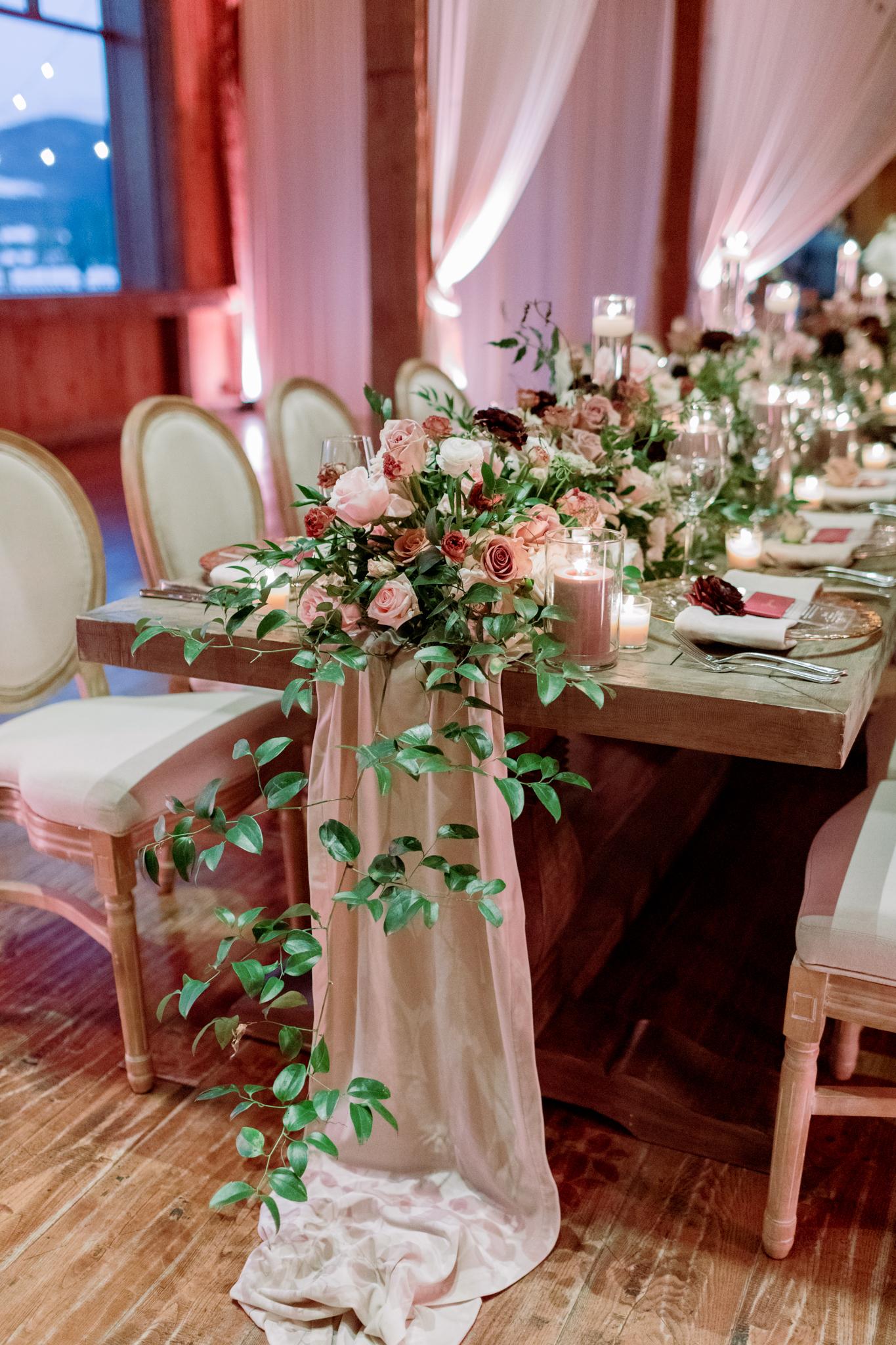 Devils-Thumb-Ranch-Tabernash-Colorado-Winter-Broad-Axe-Barn-Reception-LaRue-Florals-Table-Runner-Drapery