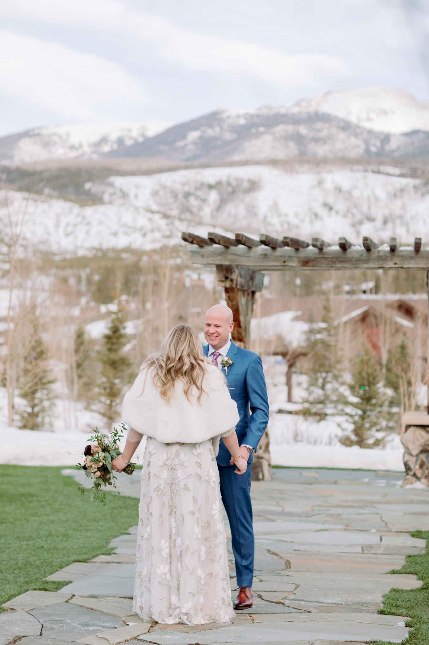 Devils-Thumb-Ranch-Tabernash-Colorado-Winter-Outdoor-Wedding-First-Look