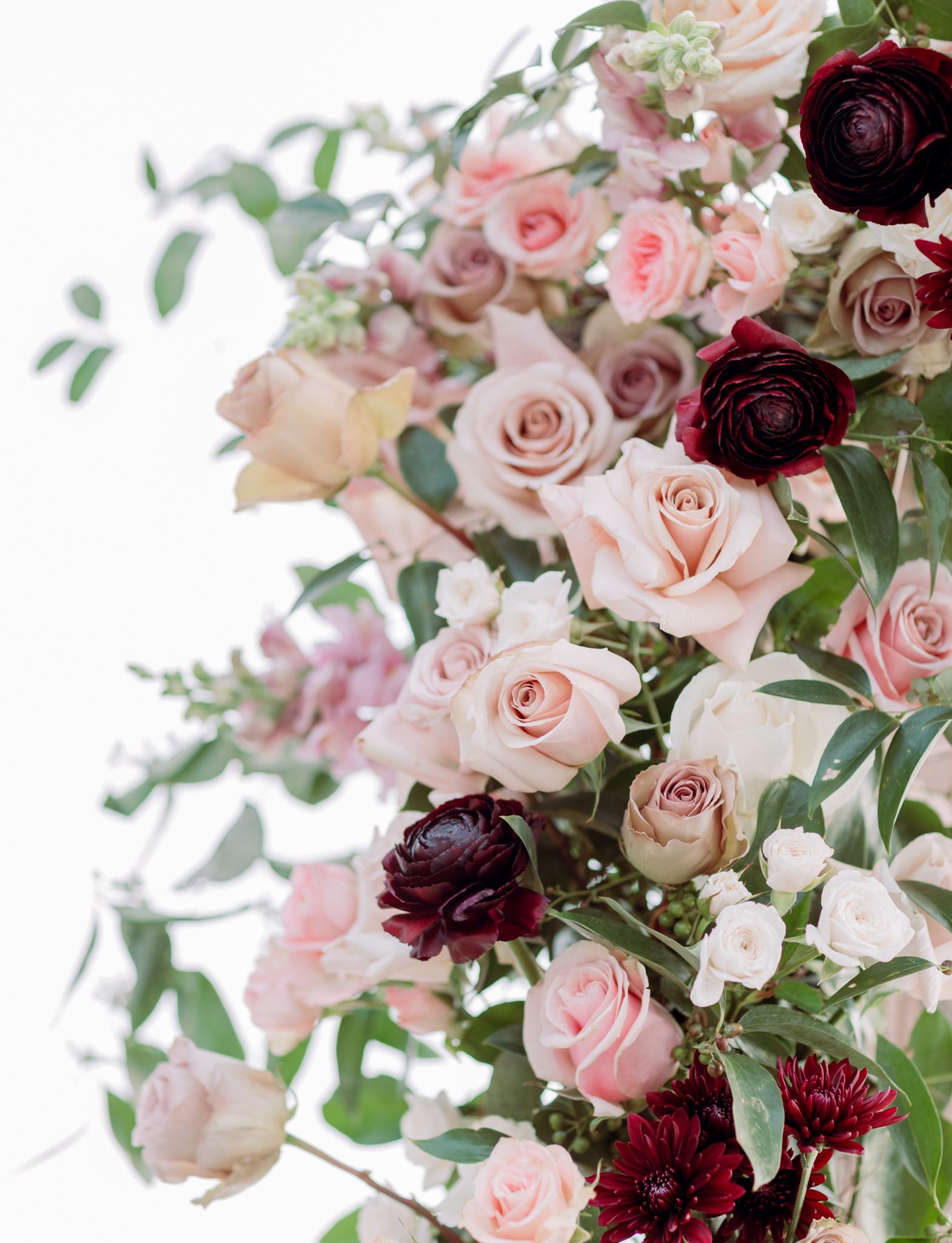 Devils-Thumb-Ranch-Tabernash-Colorado-Winter-Outdoor-Wedding-Arch-Flowers
